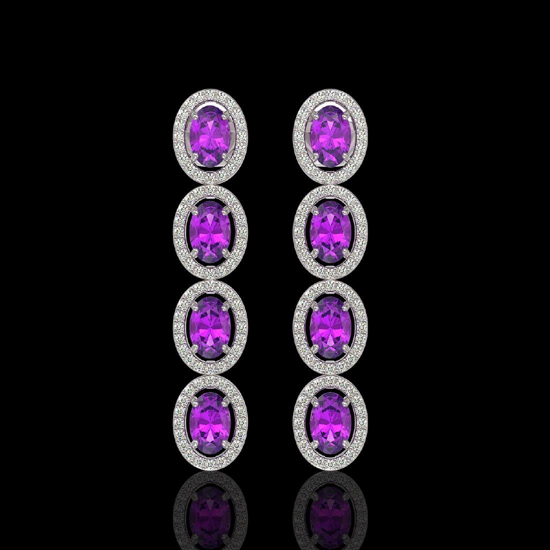 5.56 CTW Amethyst & Diamond Halo Earrings 10K White