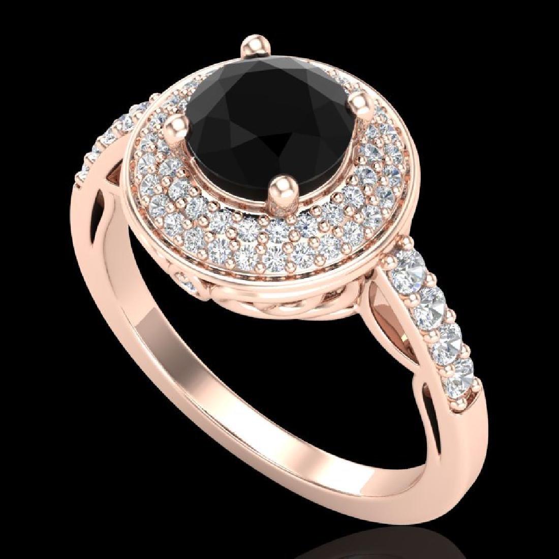 1.7 CTW Fancy Black Diamond Solitaire Engagement Art
