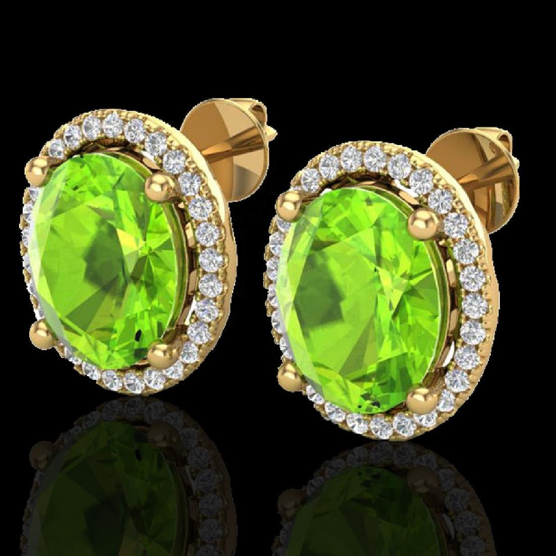 5 CTW Peridot & Micro Pave VS/SI Diamond Earrings Halo