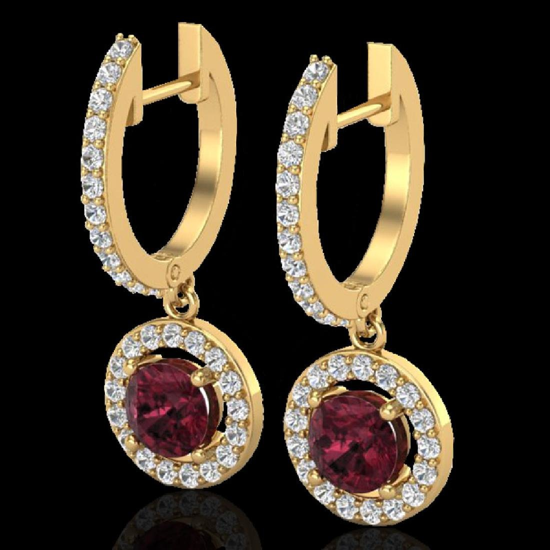 1.75 CTW Garnet & Micro Halo VS/SI Diamond Earrings 18K