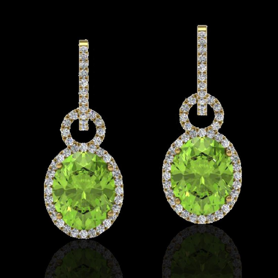 6 CTW Peridot & Micro Pave Solitaire Halo VS/SI Diamond