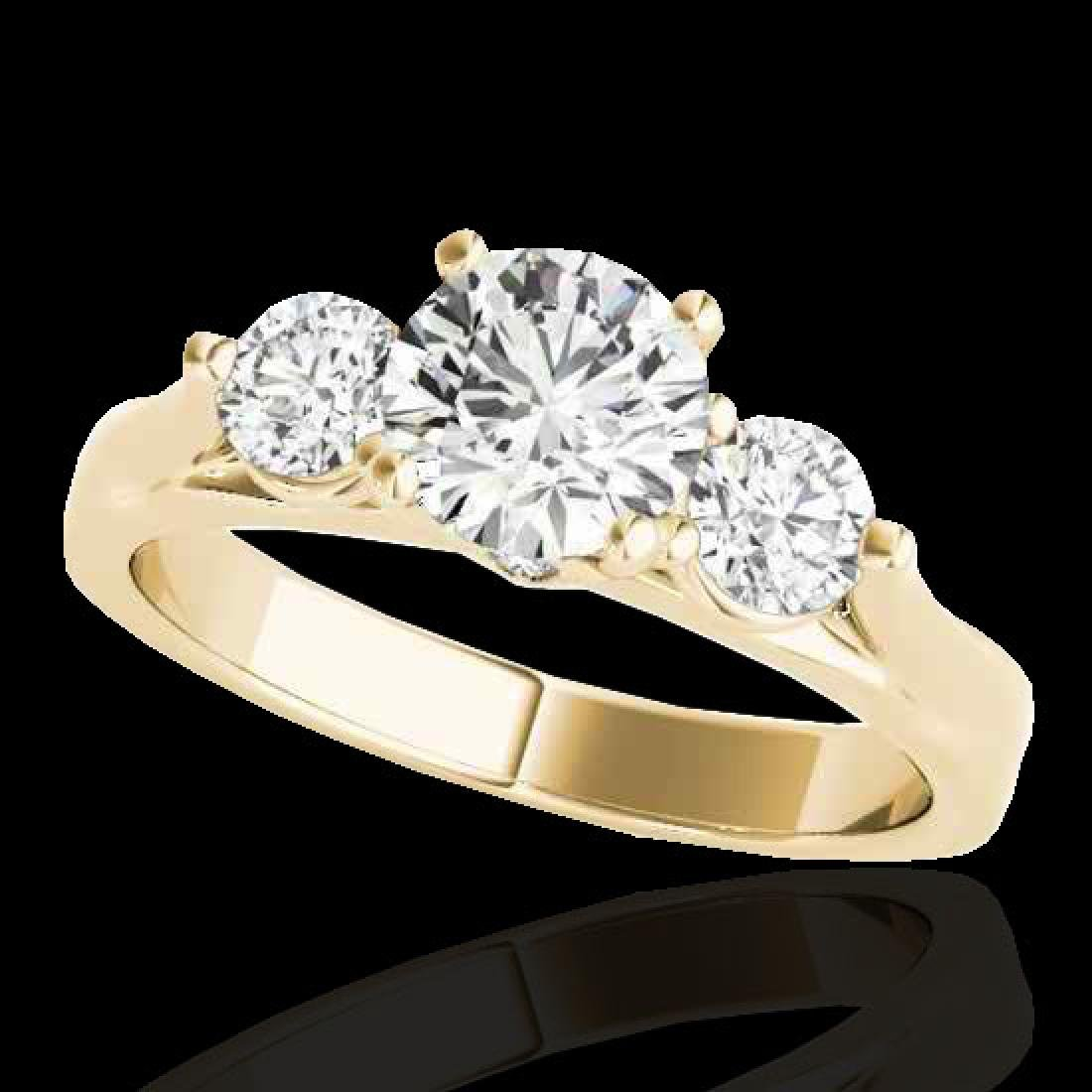 1.5 CTW H-SI/I Certified Diamond 3 Stone Ring 10K