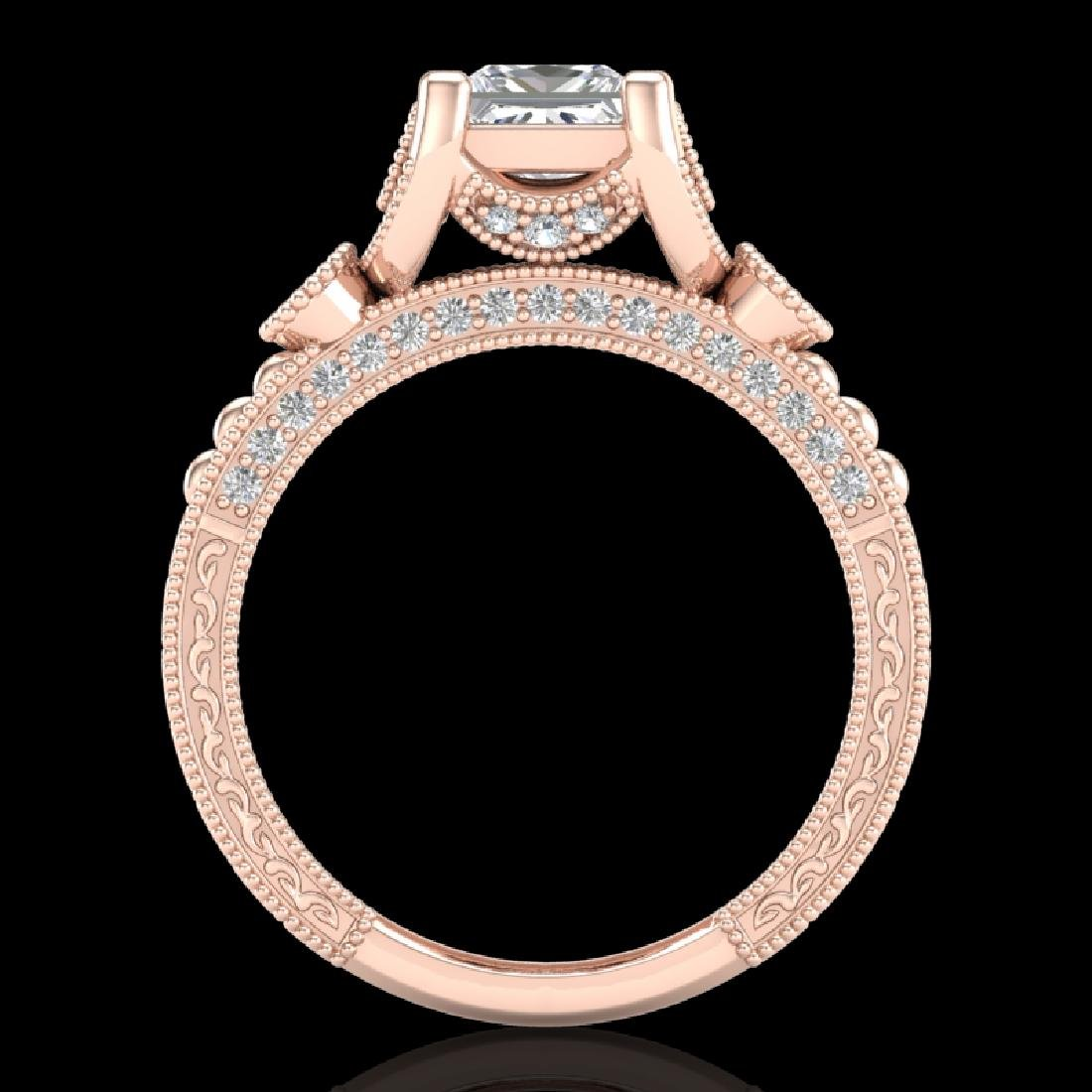 1.75 CTW Princess VS/SI Diamond Art Deco Ring 18K Rose
