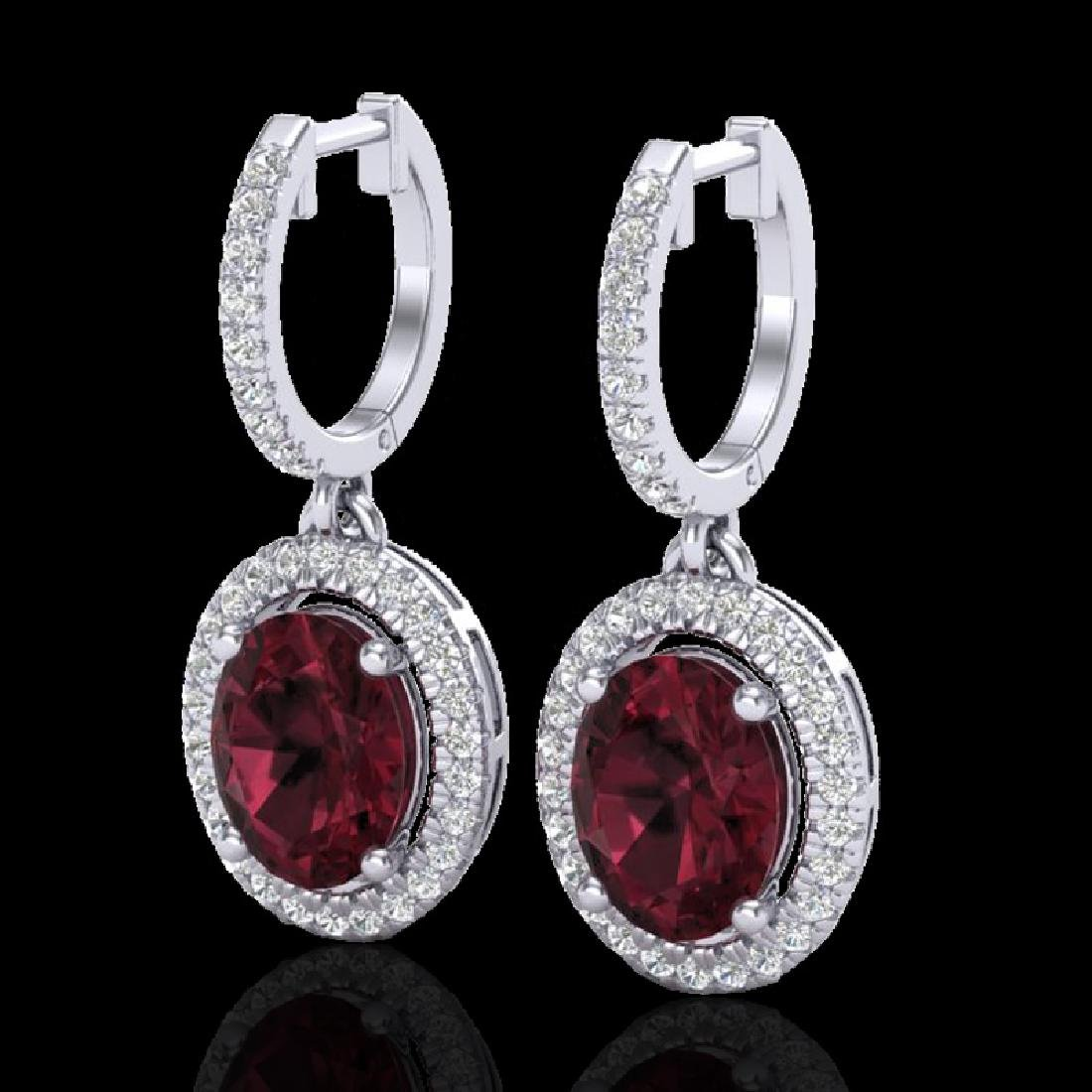 3.75 CTW Garnet & Micro Pave VS/SI Diamond Earrings