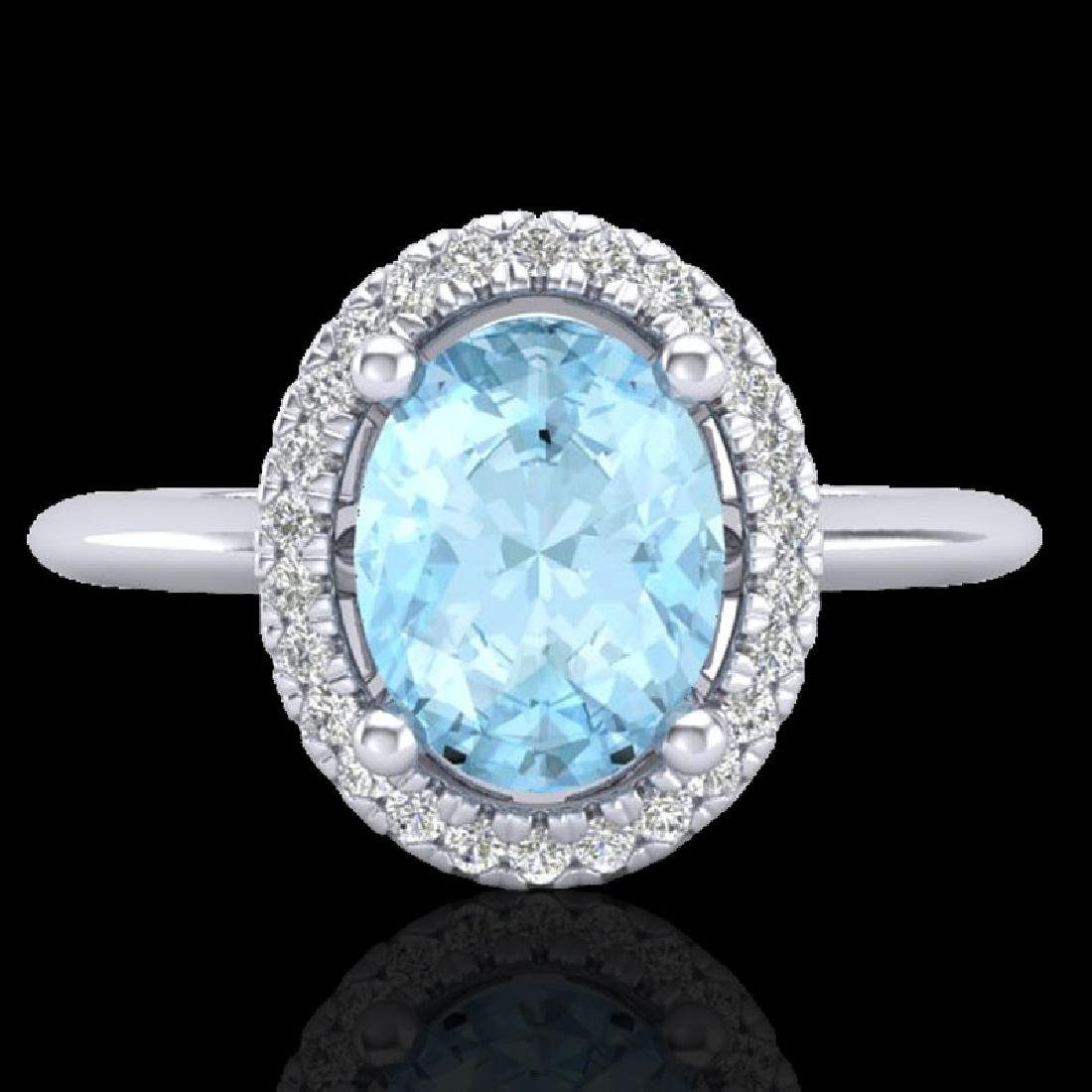 1.50 CTW Aquamarine & Micro VS/SI Diamond Ring