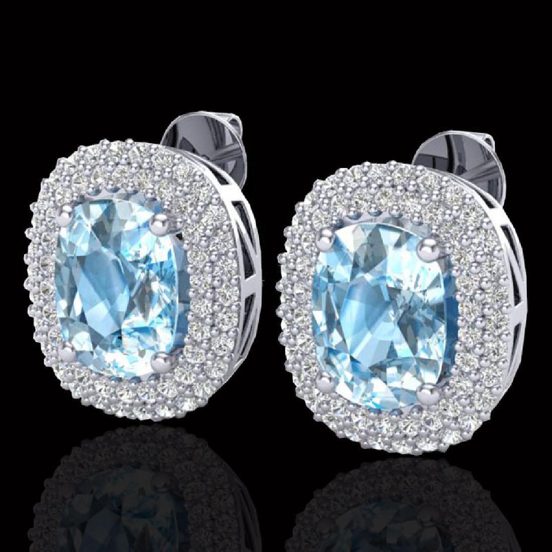 6 CTW Sky Blue Topaz & Micro Pave VS/SI Diamond Halo