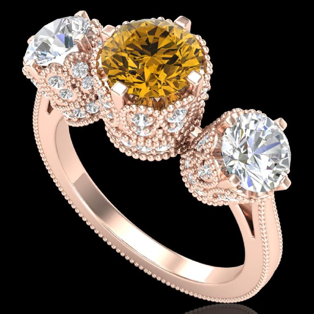 3.06 CTW Intense Fancy Yellow Diamond Art Deco 3 Stone