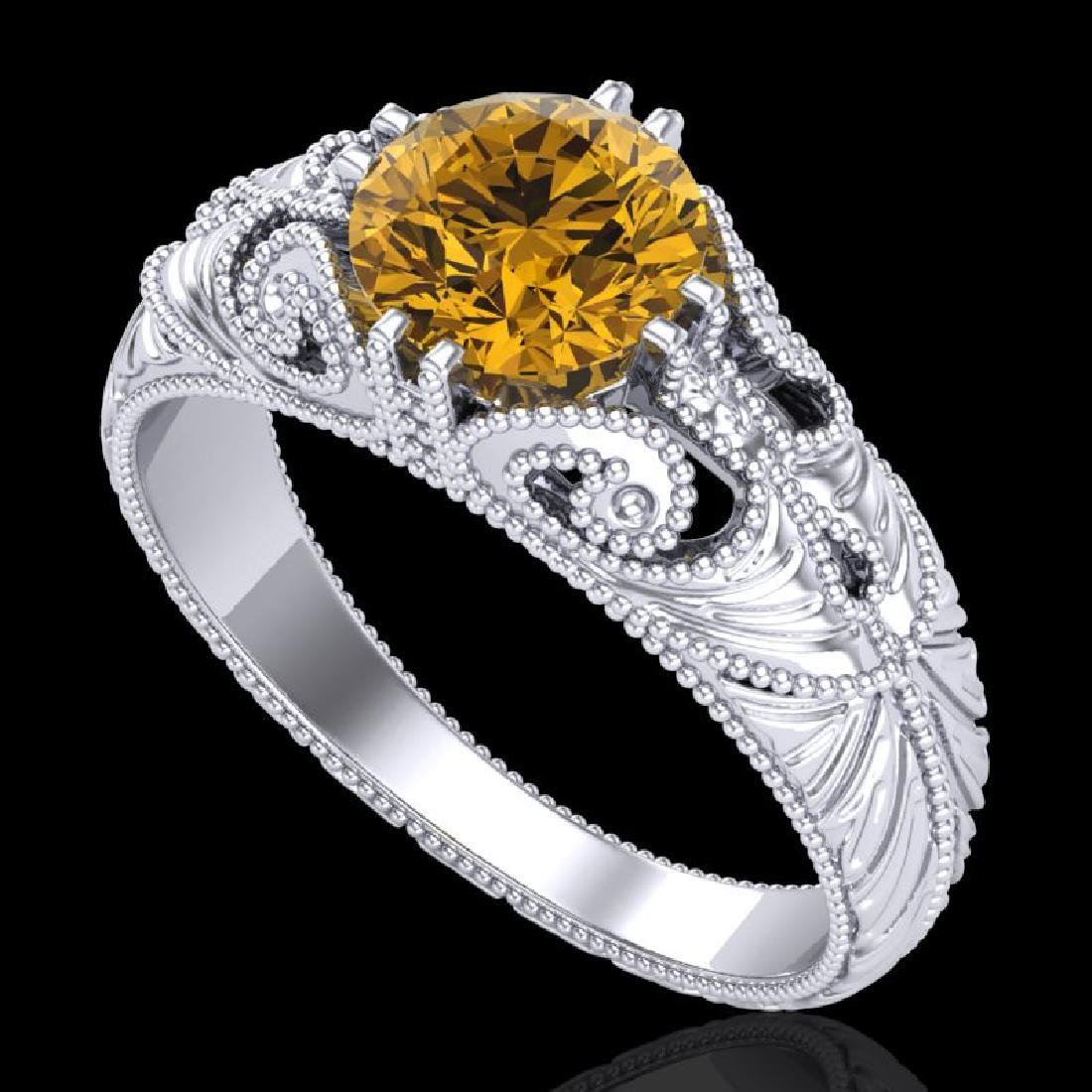 1 CTW Intense Fancy Yellow Diamond Engagement Art Deco
