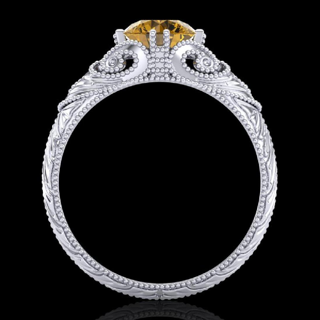 1 CTW Intense Fancy Yellow Diamond Engagement Art Deco - 2