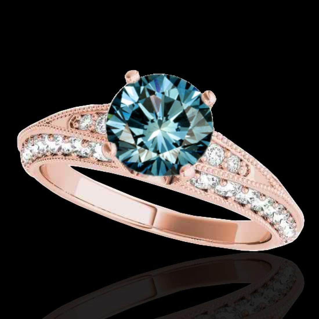 1.58 CTW SI Certified Blue Diamond Solitaire Antique
