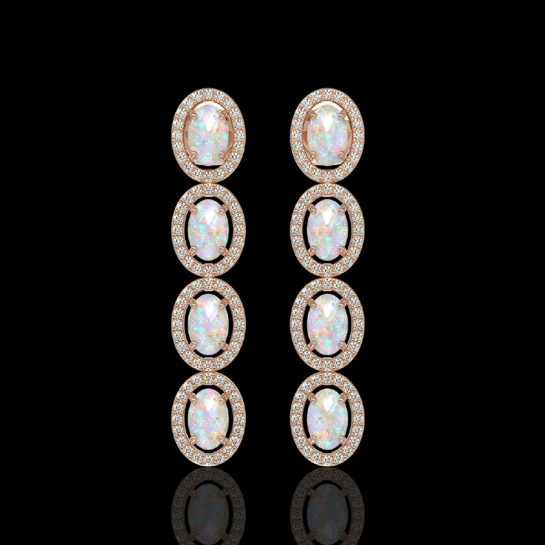 4.05 CTW Opal & Diamond Halo Earrings 10K Rose Gold