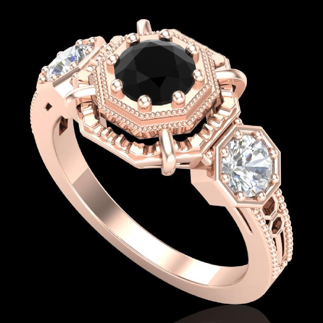 1.01 CTW Fancy Black Diamond Solitaire Art Deco 3 Stone