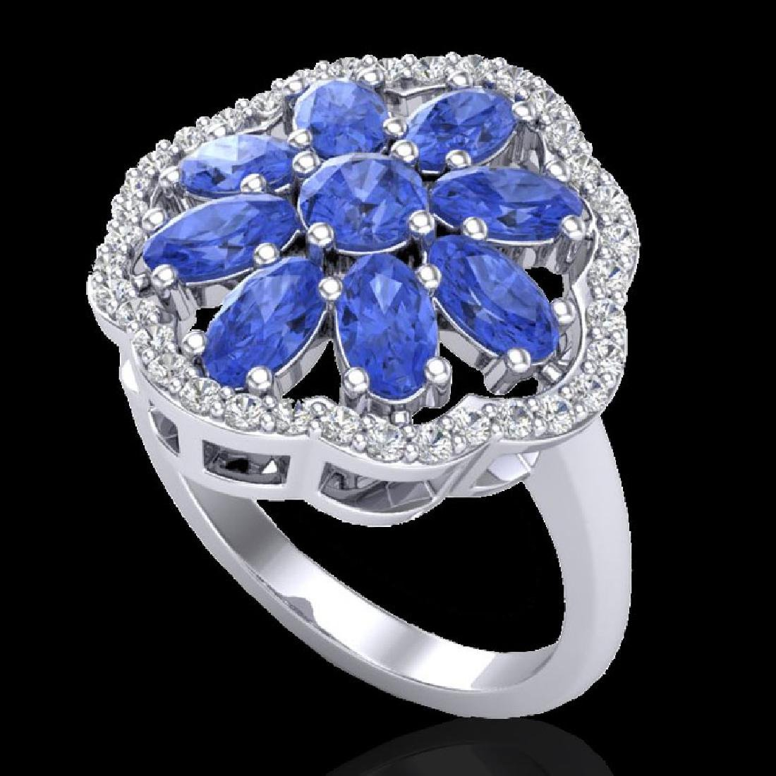 3 CTW Tanzanite & VS/SI Diamond Cluster Designer Halo