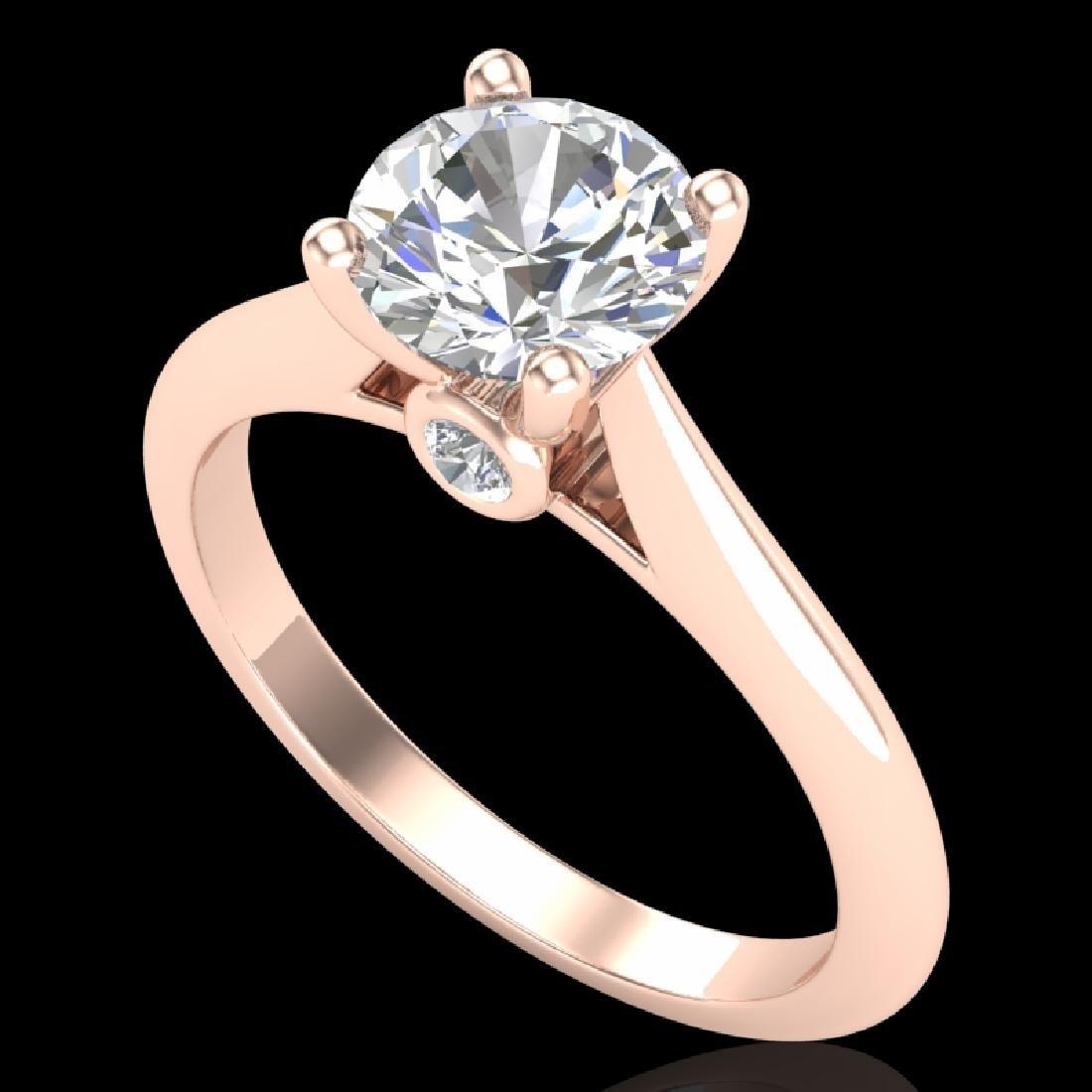 1.36 CTW VS/SI Diamond Solitaire Art Deco Ring 18K Rose