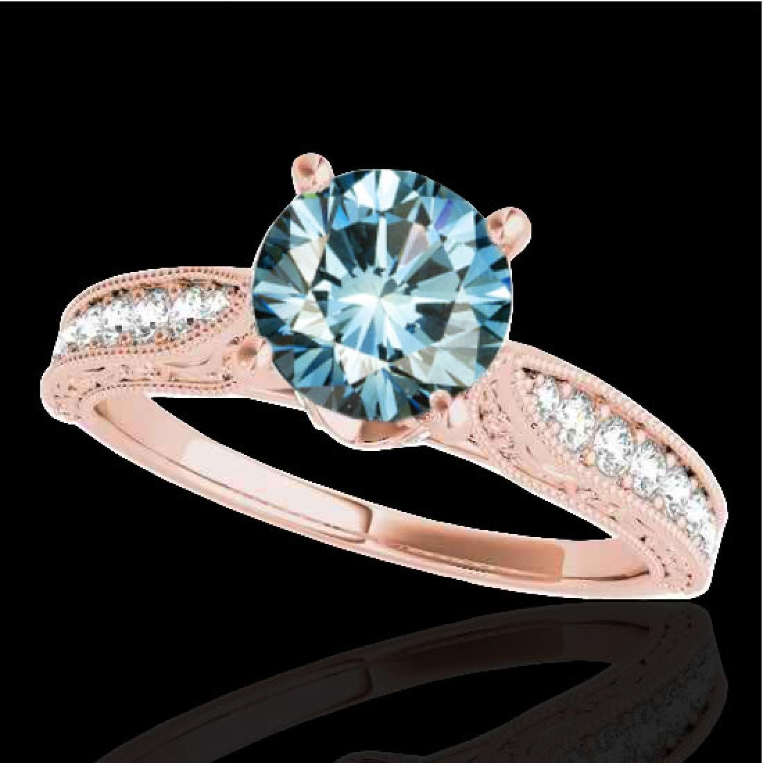 1.5 CTW SI Certified Fancy Blue Diamond Solitaire
