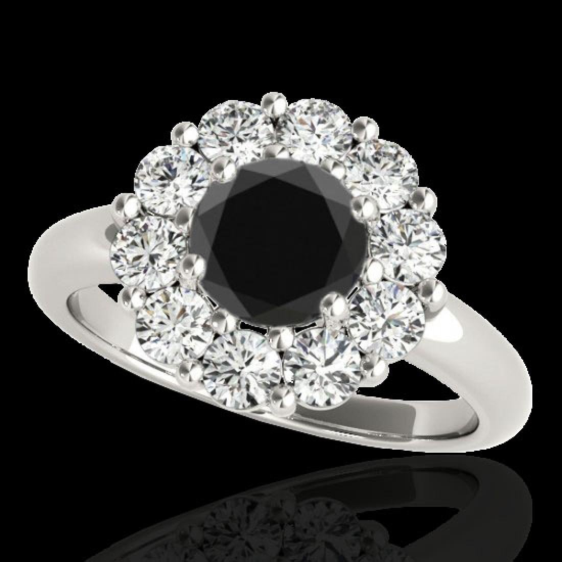 2.09 CTW Certified VS Black Diamond Solitaire Halo Ring