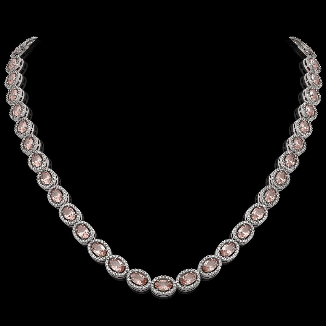 31.96 CTW Morganite & Diamond Halo Necklace 10K White