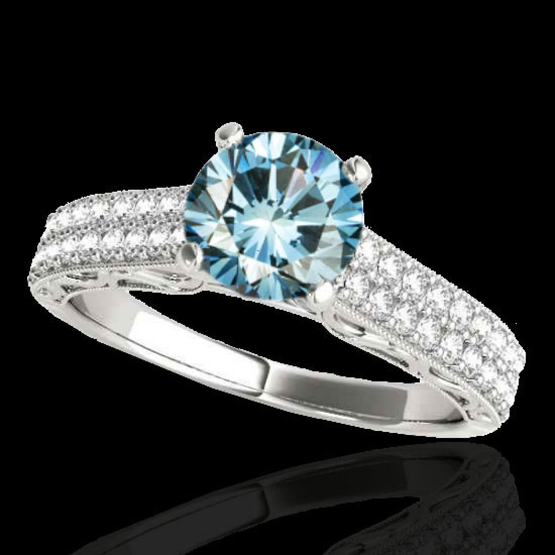 1.91 CTW SI Certified Blue Diamond Solitaire Antique