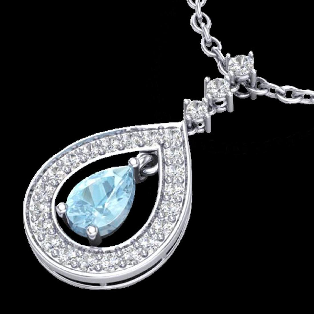 1.15 CTW Aquamarine & Micro Pave VS/SI Diamond Necklace