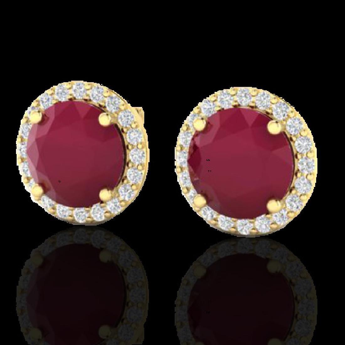 4 CTW Ruby & Halo VS/SI Diamond Micro Earrings