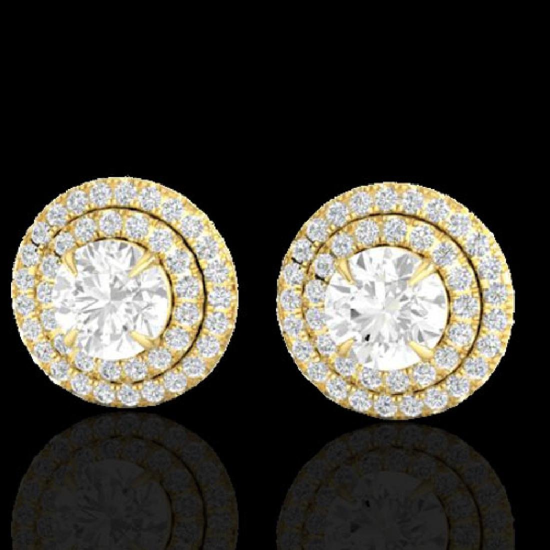 2 CTW Micro Pave VS/SI Diamond Stud Earrings Double