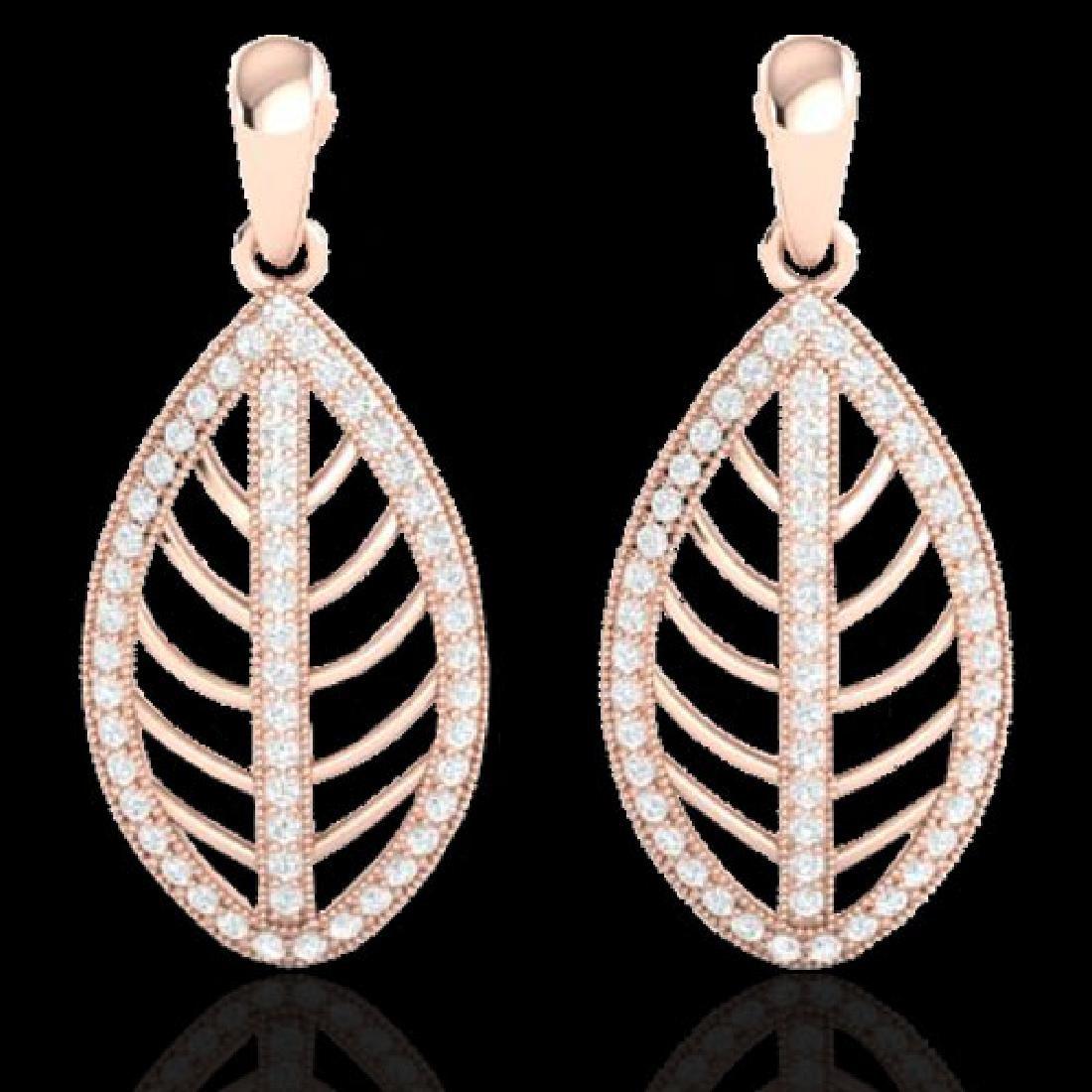 2 CTW Micro Pave VS/SI Diamond Designer Earrings 14K