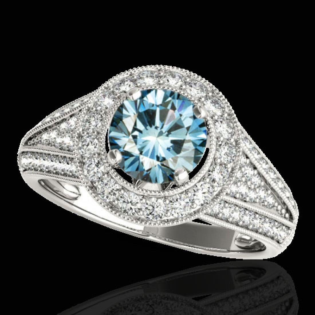 2.17 CTW SI Certified Fancy Blue Diamond Solitaire Halo