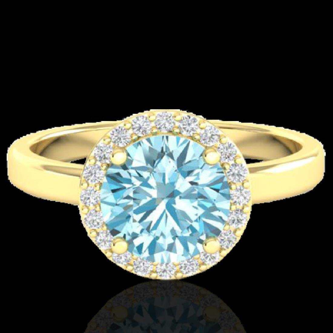 2 CTW Sky Blue Topaz & Halo VS/SI Diamond Micro Ring