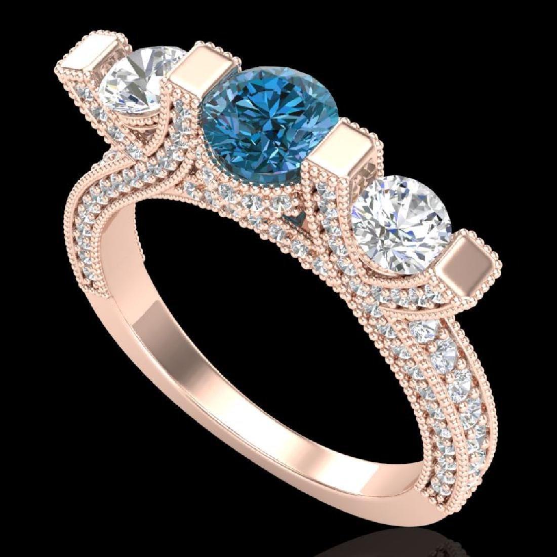 2.3 CTW Fancy Intense Blue Diamond Micro Pave 3 Stone