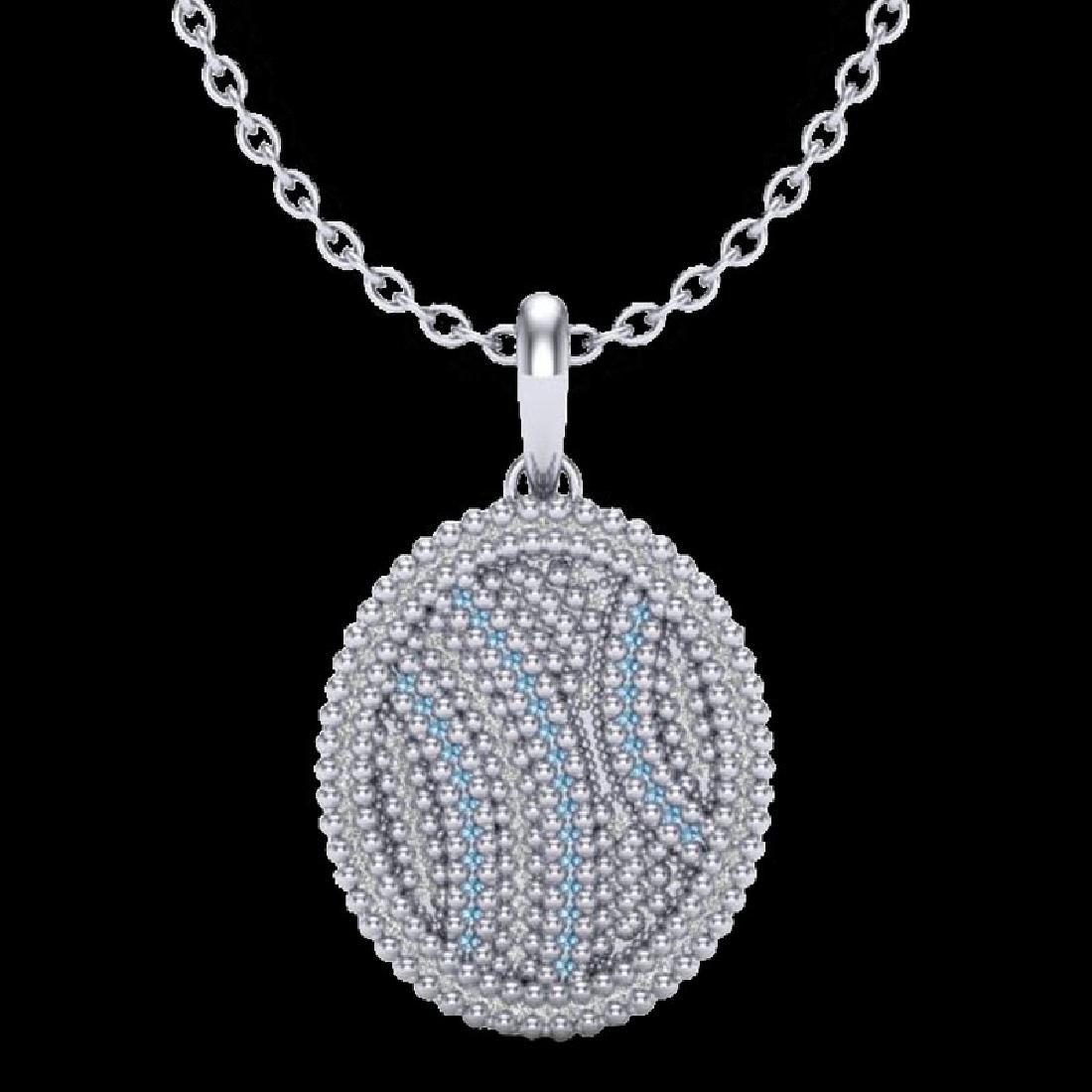 1 CTW Micro Pave Blue & White VS/SI Diamond Necklace