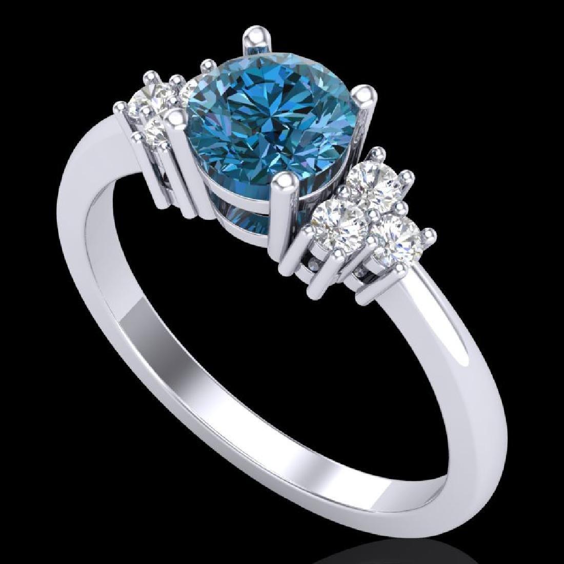 1 CTW Fancy Intense Blue Diamond Solitaire Engagement