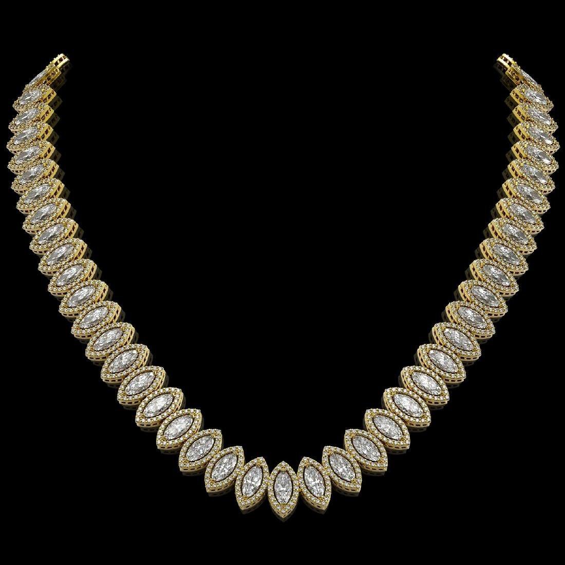 39.68 CTW Marquise Diamond Designer Necklace 18K Yellow