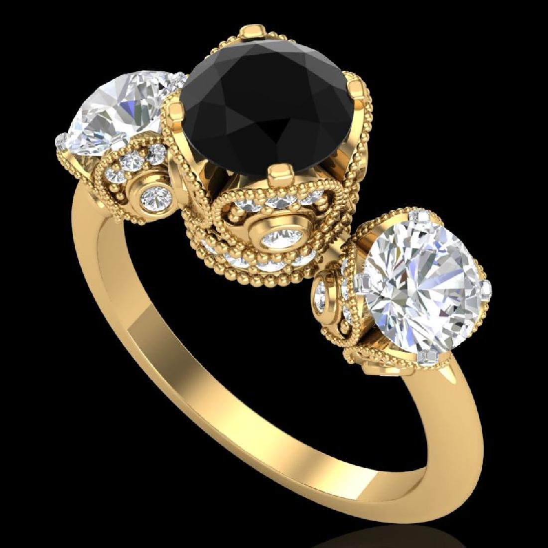3 CTW Fancy Black Diamond Solitaire Art Deco 3 Stone