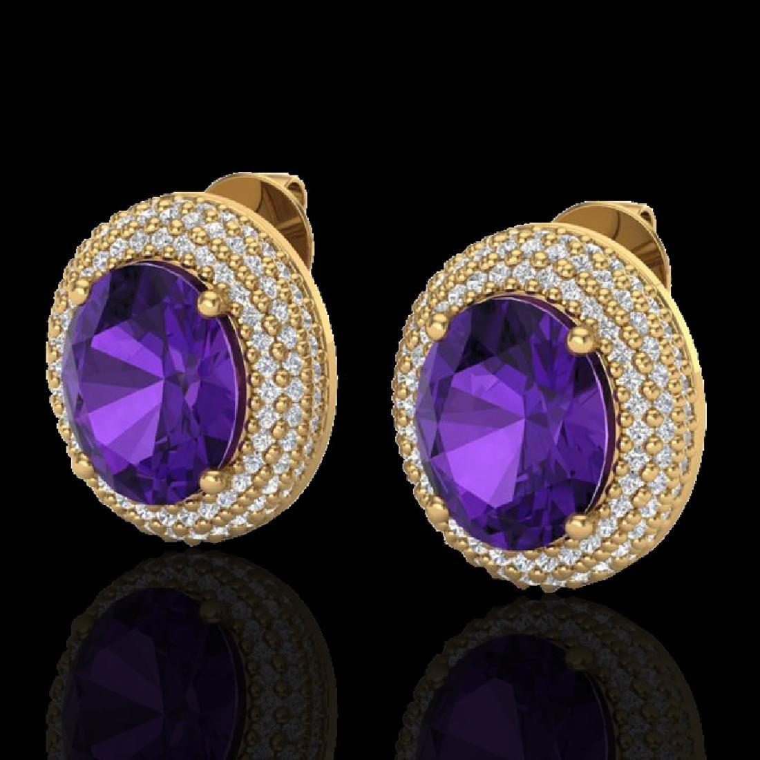 8 CTW Amethyst & Micro Pave VS/SI Diamond Earrings 18K