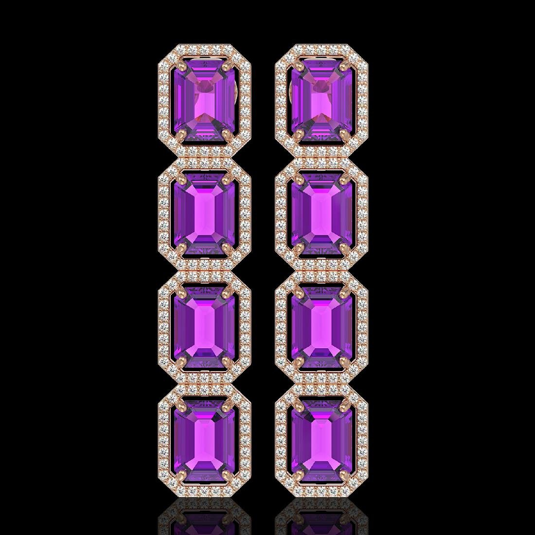 18.59 CTW Amethyst & Diamond Halo Earrings 10K Rose