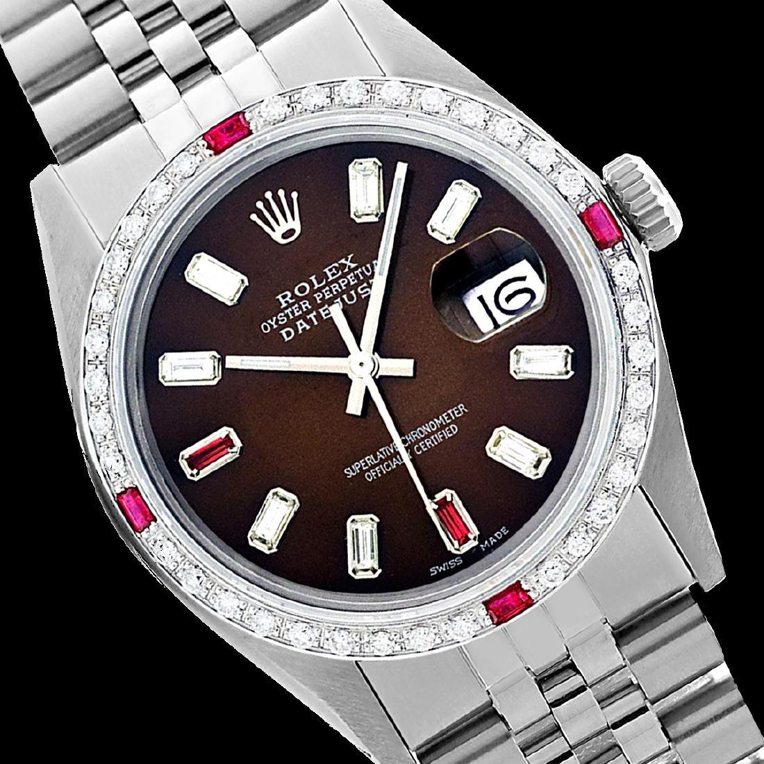Rolex Men's Stainless Steel, QuickSet, Diam/Ruby Dial &