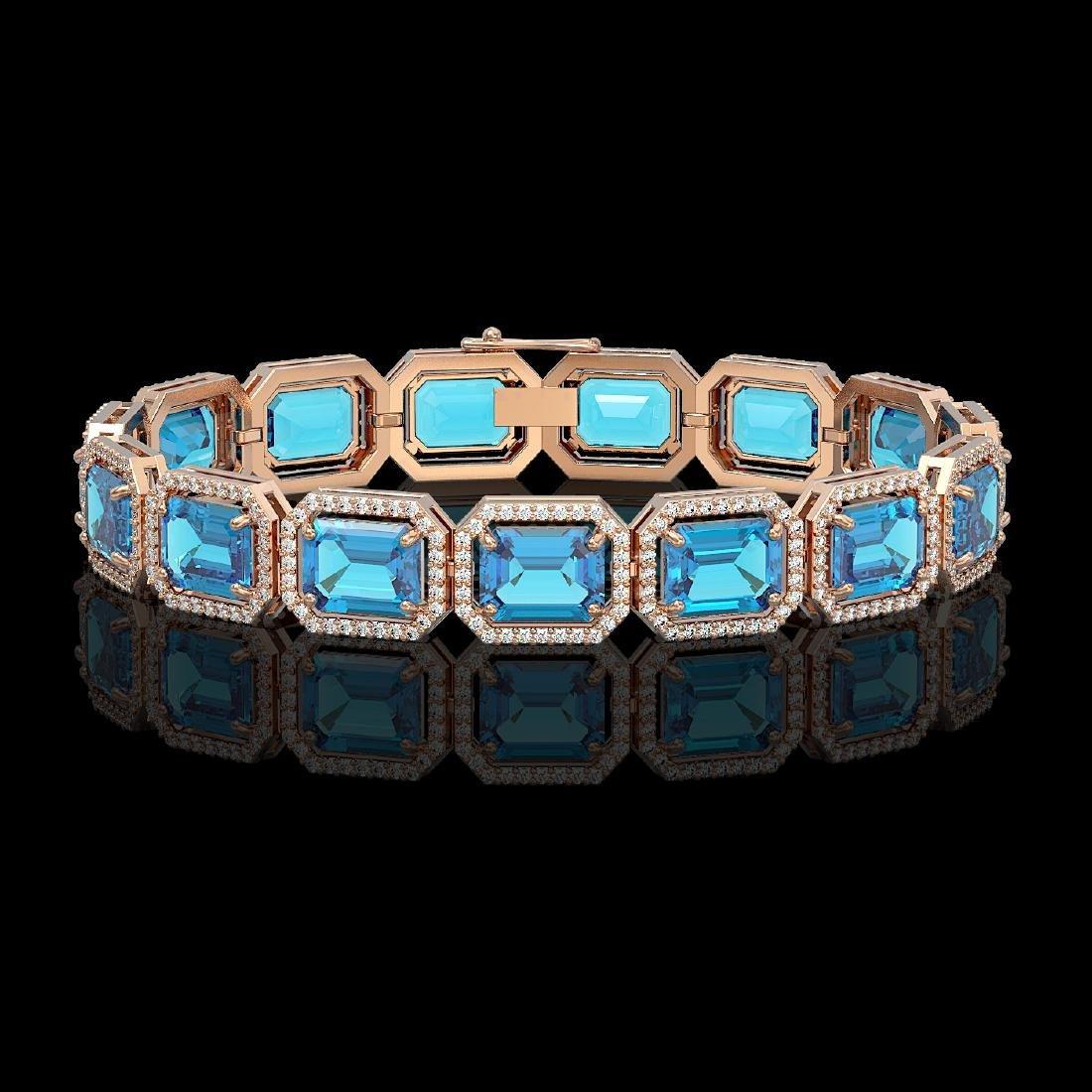 35.61 CTW Swiss Topaz & Diamond Halo Bracelet 10K Rose