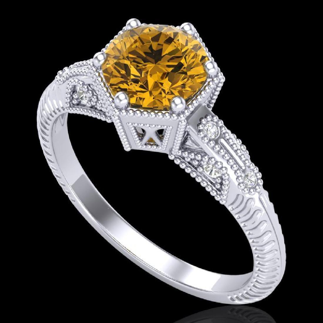 1.17 CTW Intense Fancy Yellow Diamond Engagement Art