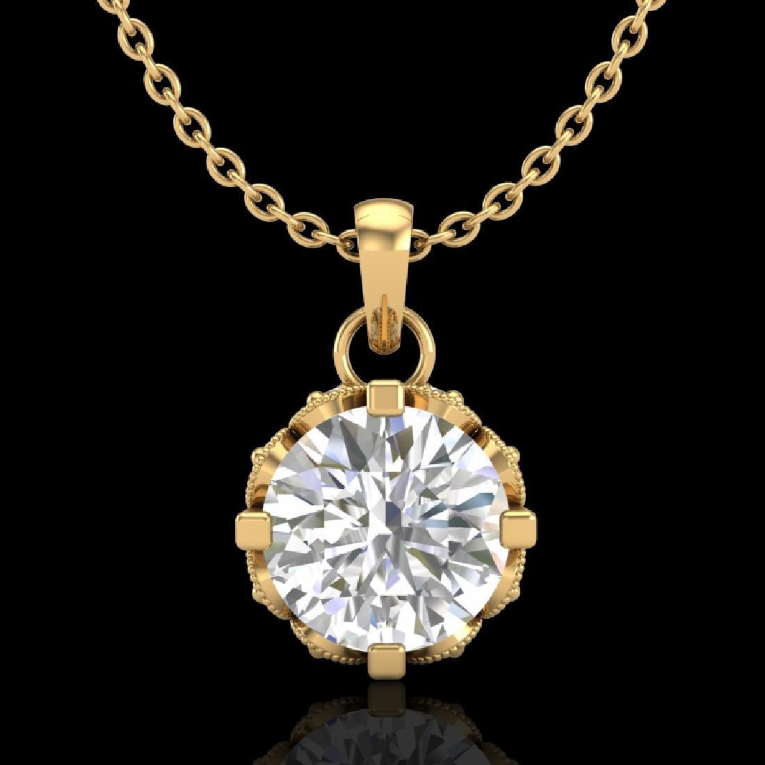 0.85 CTW VS/SI Diamond Art Deco Stud Necklace 18K