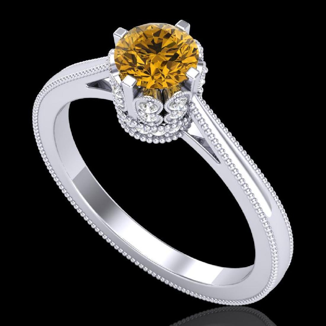 0.81 CTW Intense Fancy Yellow Diamond Engagement Art