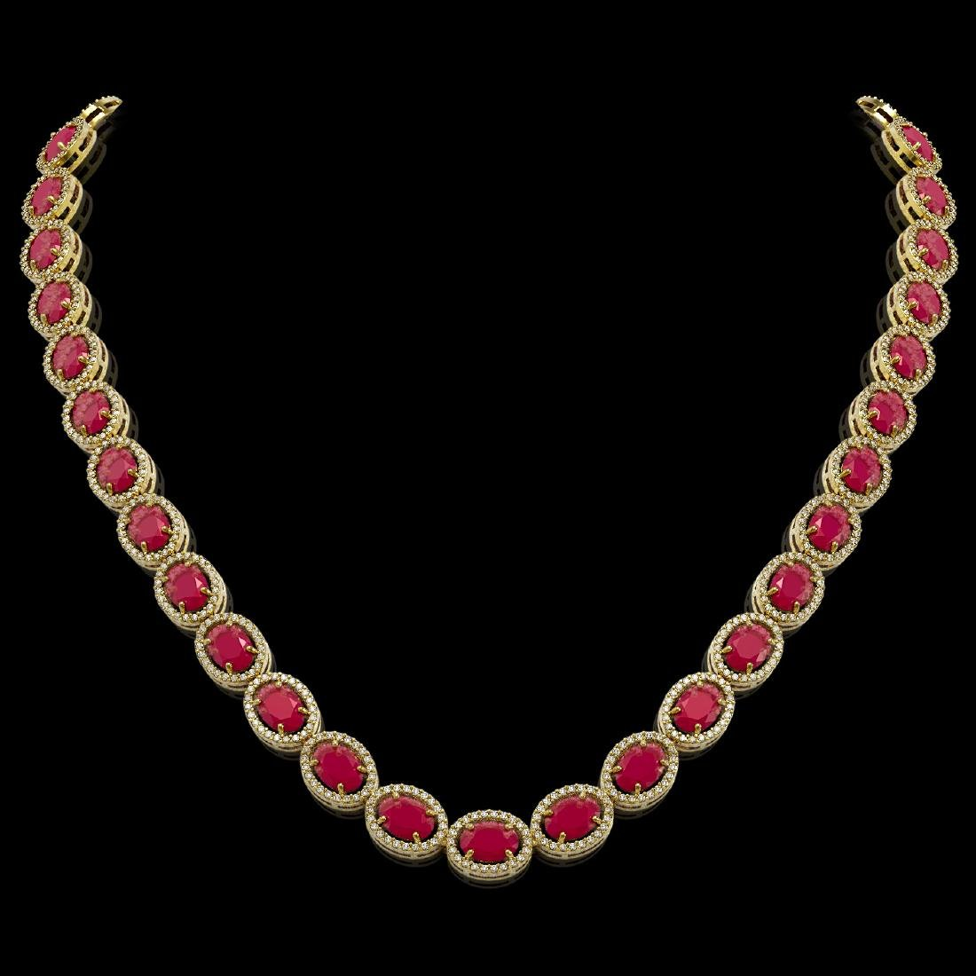 52.15 CTW Ruby & Diamond Halo Necklace 10K Yellow Gold