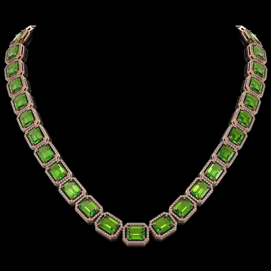 73.41 CTW Peridot & Diamond Halo Necklace 10K Rose Gold
