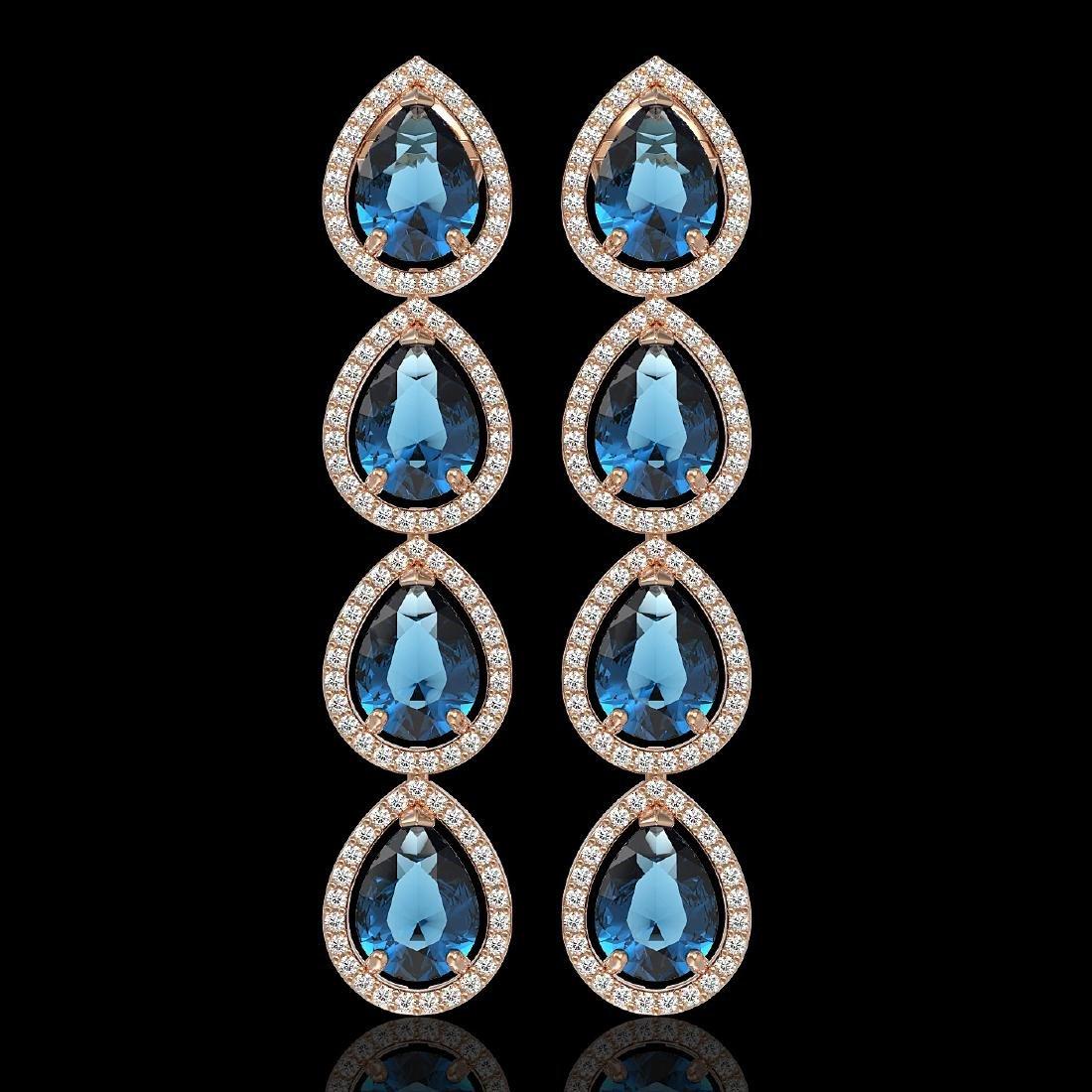 11.2 CTW London Topaz & Diamond Halo Earrings 10K Rose