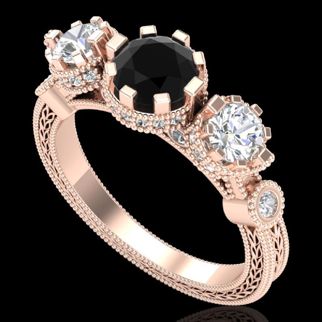 1.75 CTW Fancy Black Diamond Solitaire Art Deco 3 Stone