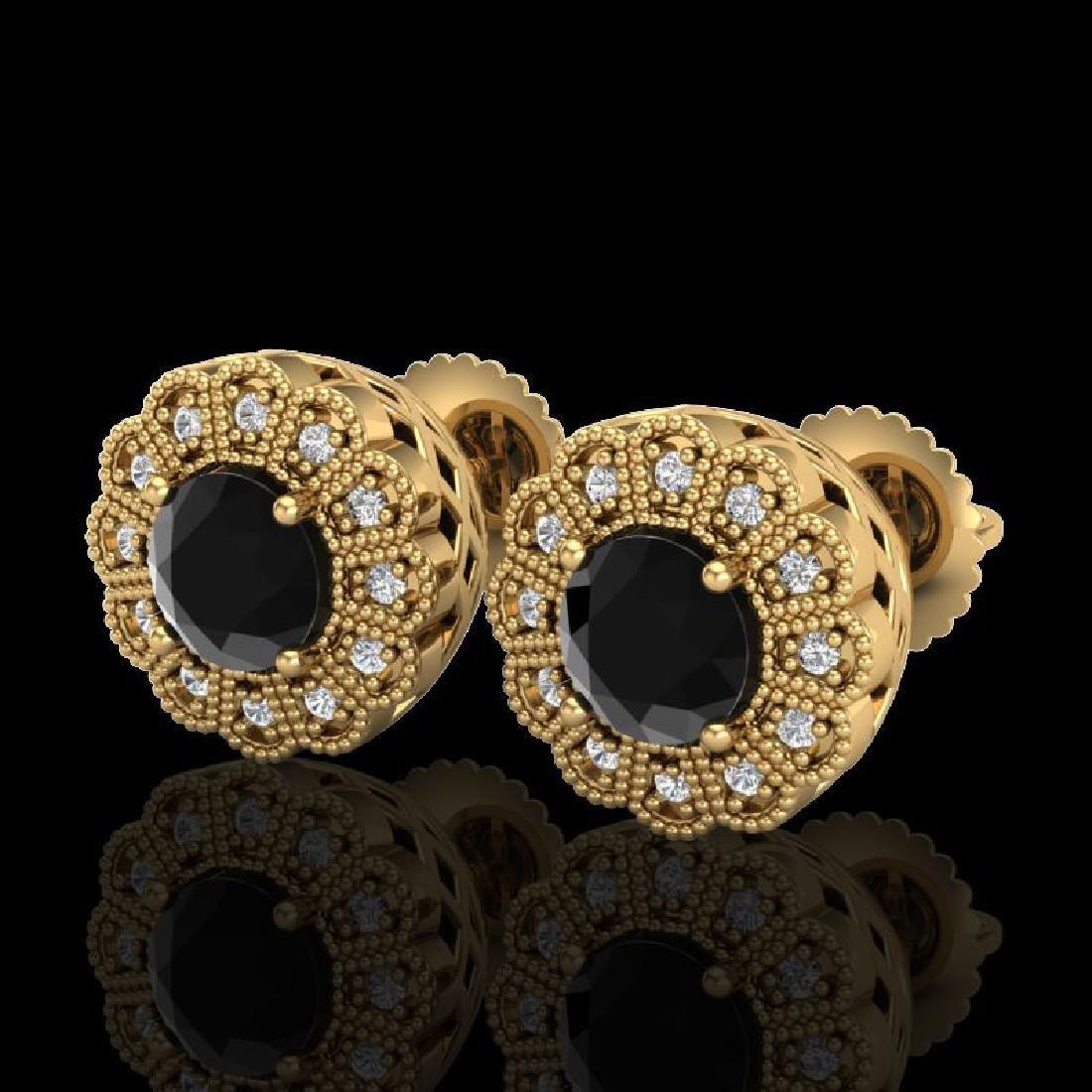 1.32 CTW Fancy Black Diamond Solitaire Art Deco Stud