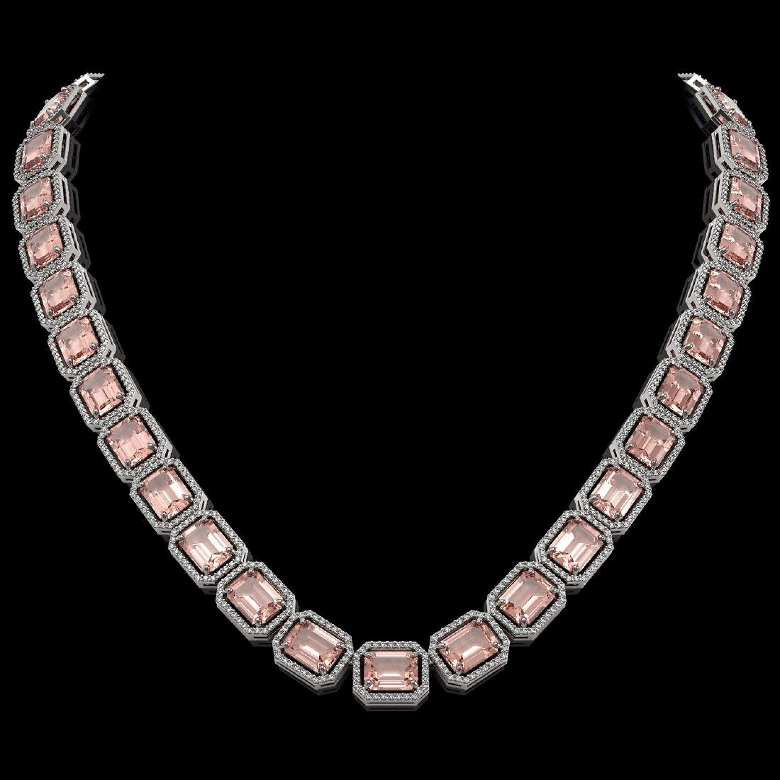 81.64 CTW Morganite & Diamond Halo Necklace 10K White