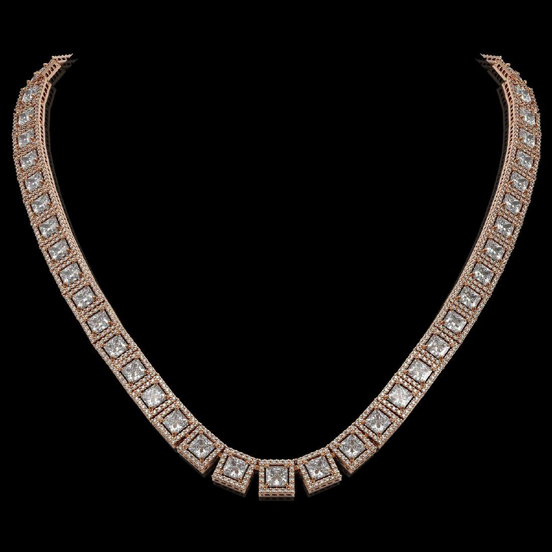 36.30 CTW Princess Diamond Designer Necklace 18K Rose