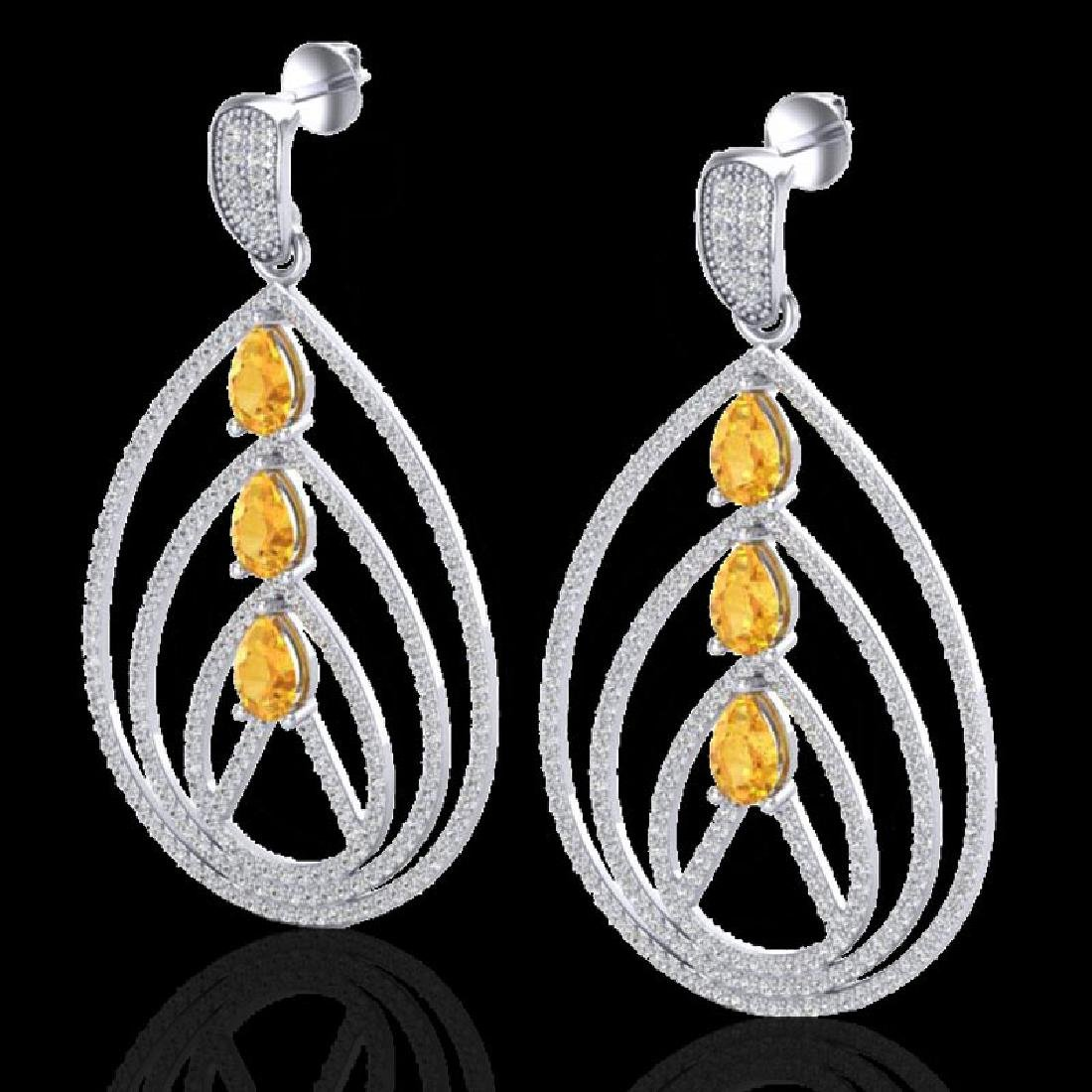 4 CTW Citrine & Micro Pave VS/SI Diamond Earrings 18K