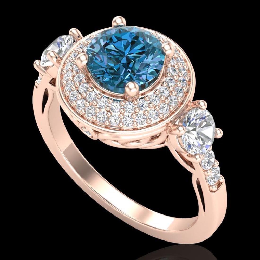 2.05 CTW Intense Blue Diamond Solitaire Art Deco 3