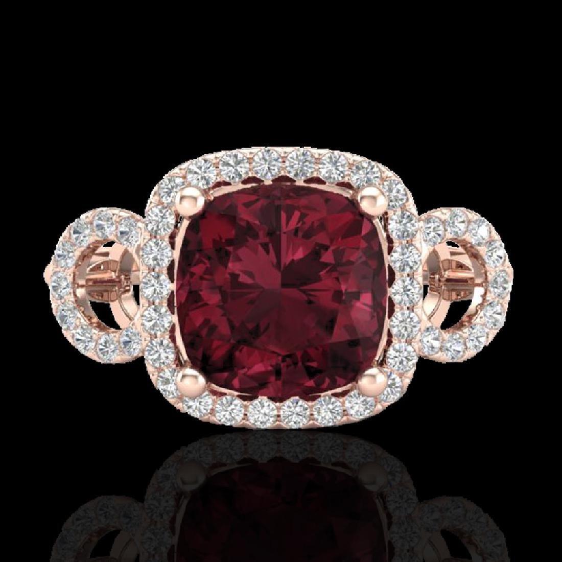 3.75 CTW Garnet & Micro VS/SI Diamond Ring 14K Rose